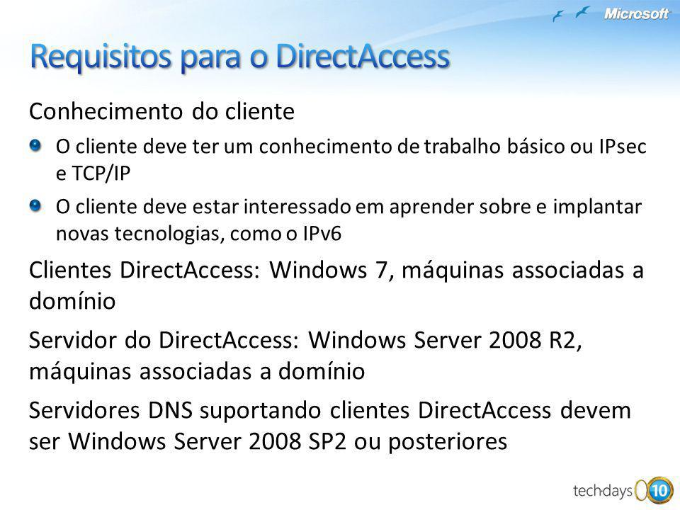 Requisitos para o DirectAccess