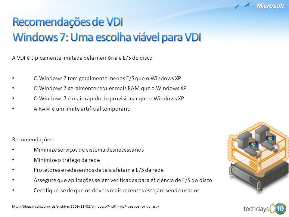 Recomendações de VDI Windows 7: Uma escolha viável para VDI