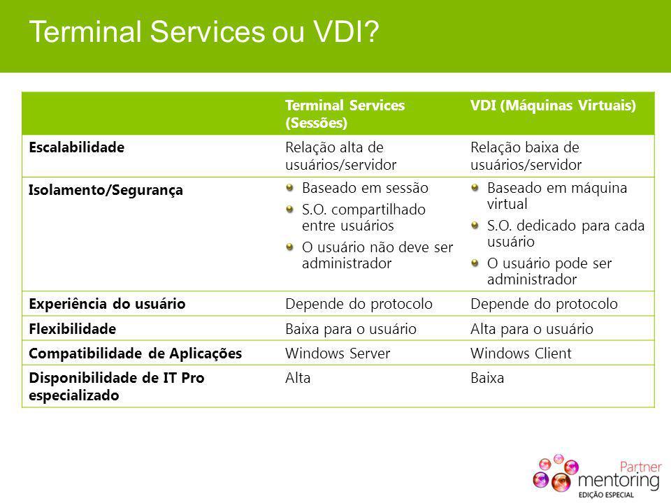 Terminal Services ou VDI