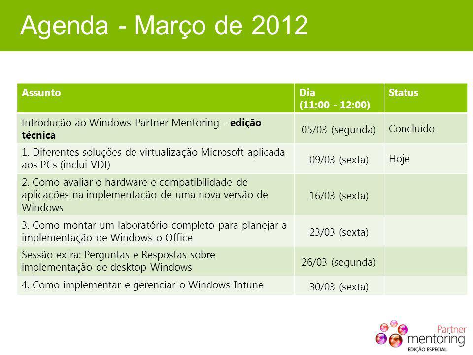 Agenda - Março de 2012 Assunto Dia (11:00 - 12:00) Status