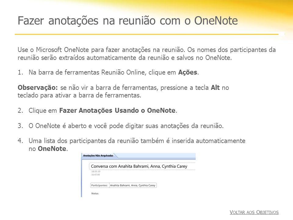 Fazer anotações na reunião com o OneNote
