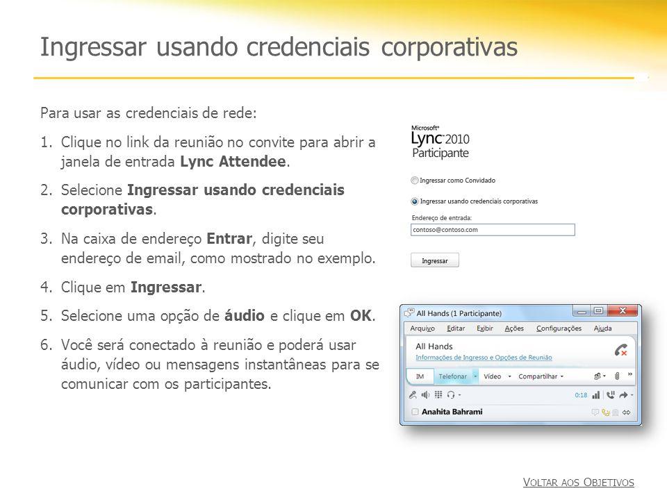 Ingressar usando credenciais corporativas