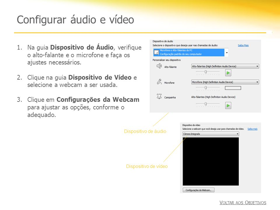 Configurar áudio e vídeo