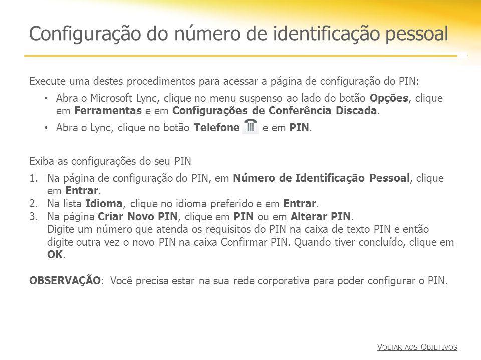 Configuração do número de identificação pessoal