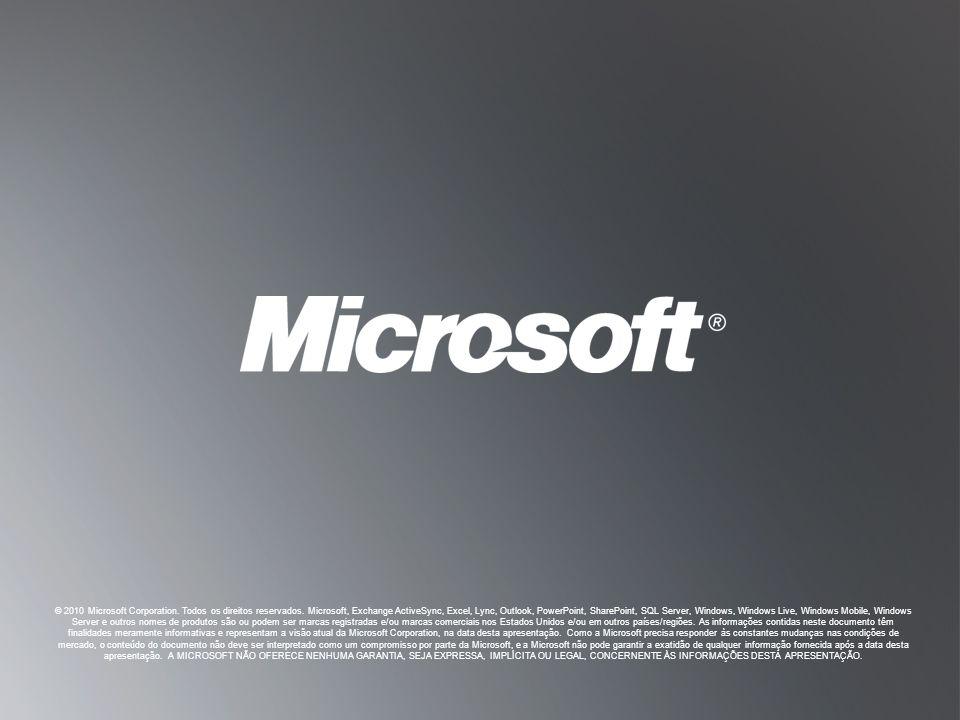 © 2010 Microsoft Corporation. Todos os direitos reservados
