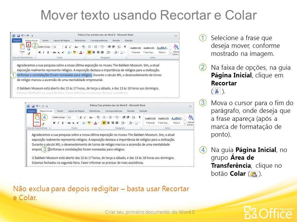 Mover texto usando Recortar e Colar
