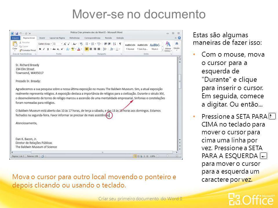 Criar seu primeiro documento do Word II
