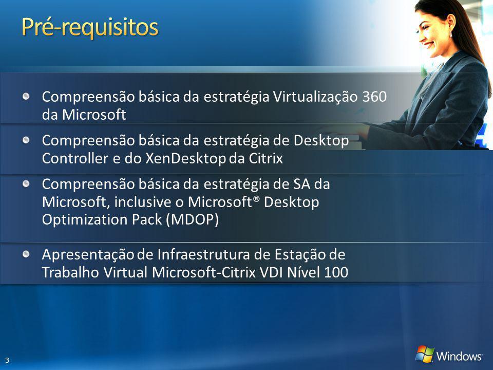 4/1/2017 8:56 PM Pré-requisitos. Compreensão básica da estratégia Virtualização 360 da Microsoft.