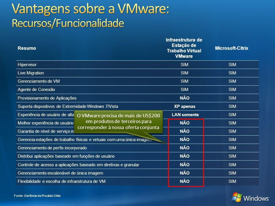 Vantagens sobre a VMware: Recursos/Funcionalidade