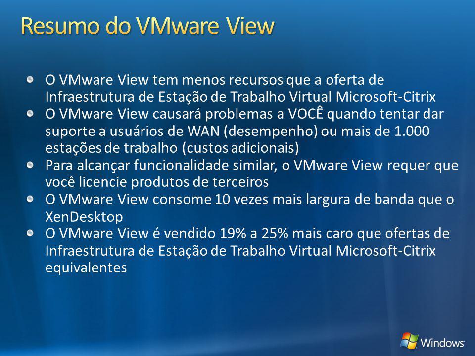 Resumo do VMware View O VMware View tem menos recursos que a oferta de Infraestrutura de Estação de Trabalho Virtual Microsoft-Citrix.