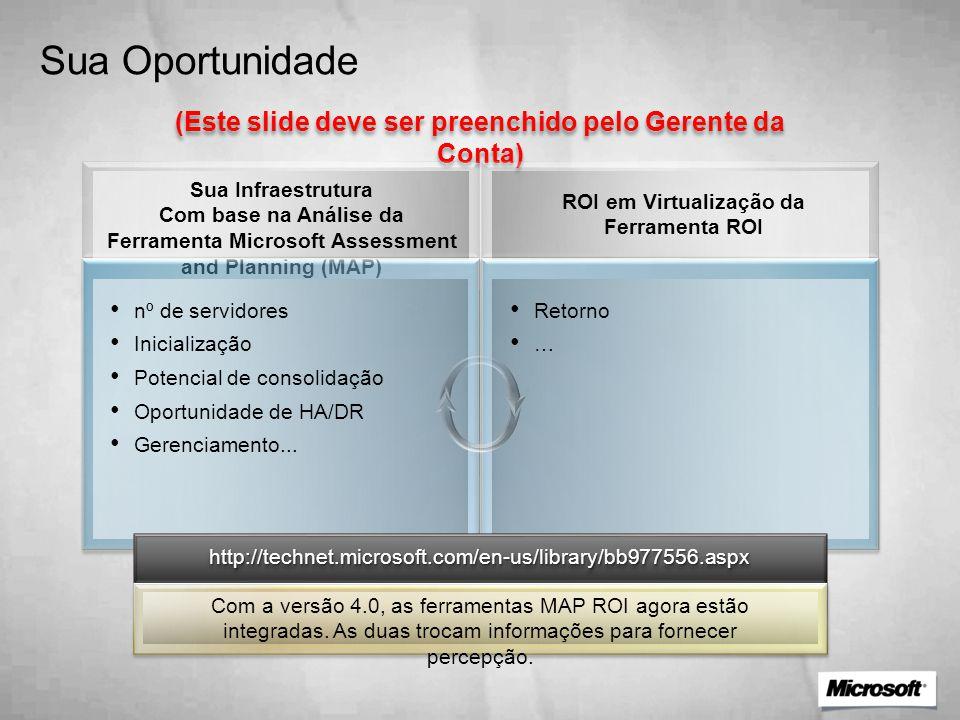 Sua Oportunidade (Este slide deve ser preenchido pelo Gerente da Conta)