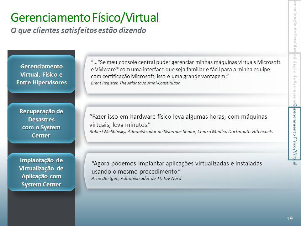 Gerenciamento Físico/Virtual O que clientes satisfeitos estão dizendo
