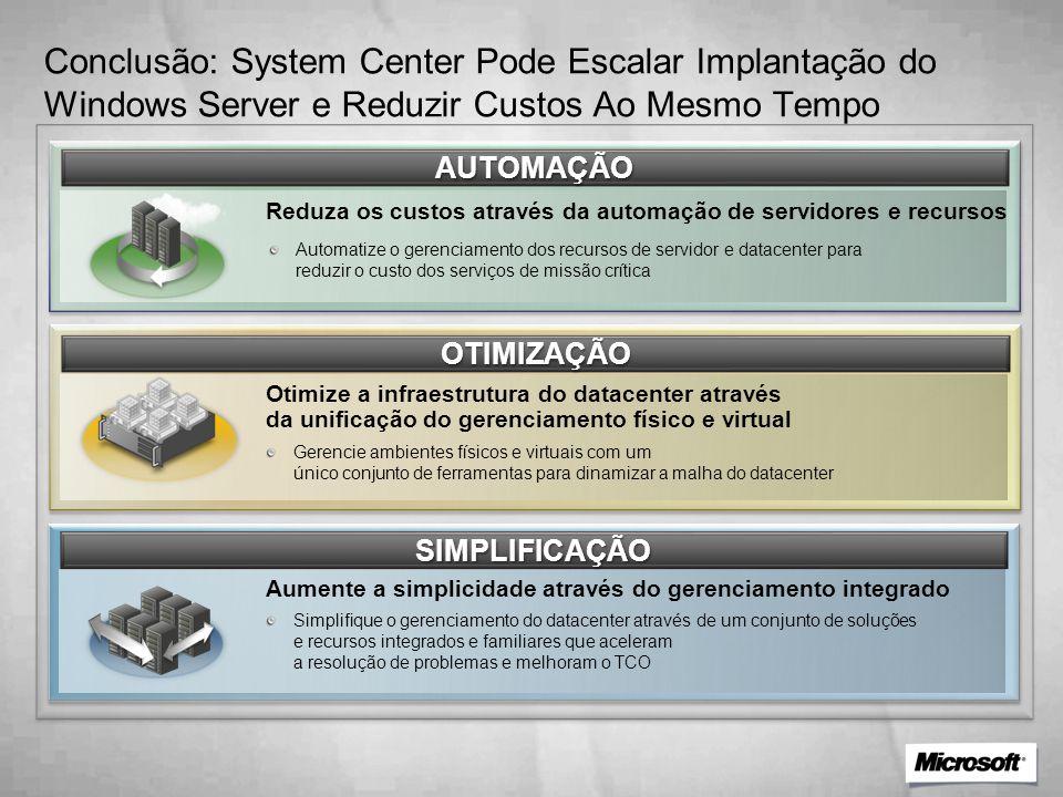 Conclusão: System Center Pode Escalar Implantação do Windows Server e Reduzir Custos Ao Mesmo Tempo