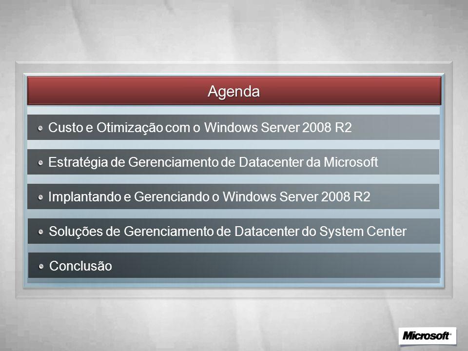 Agenda Custo e Otimização com o Windows Server 2008 R2