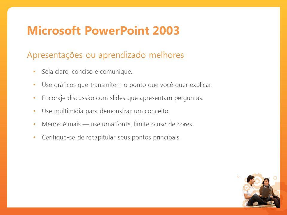 Microsoft PowerPoint 2003 Apresentações ou aprendizado melhores