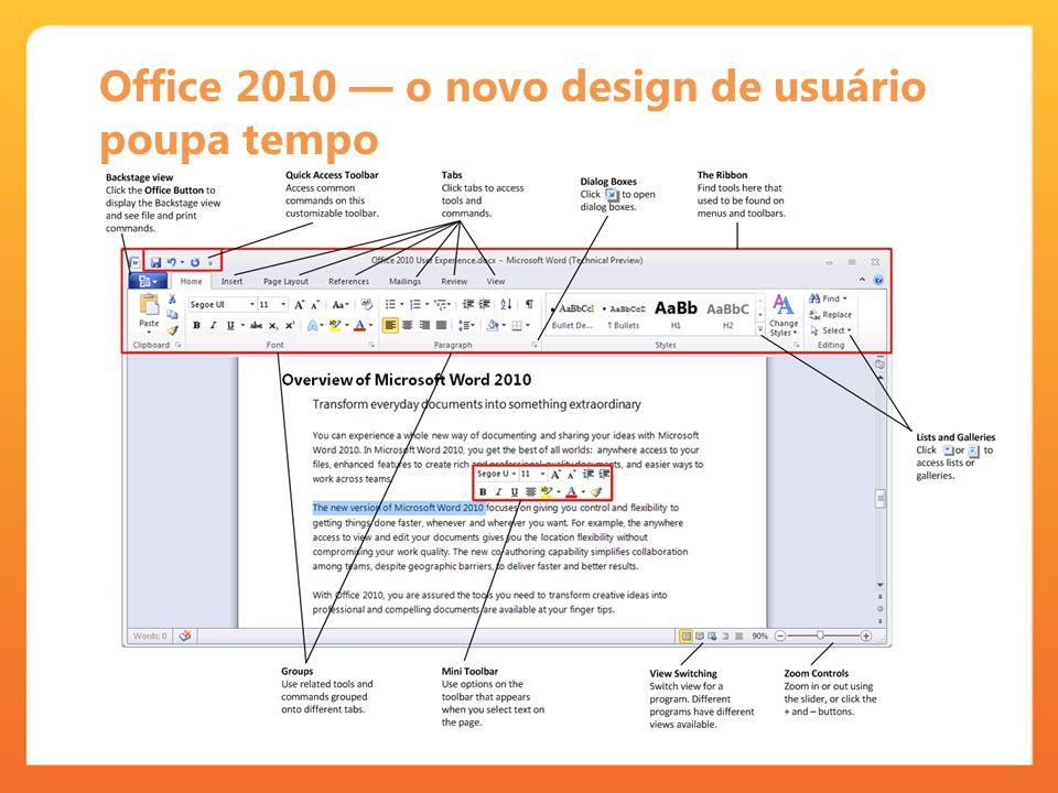 Office 2010 — o novo design de usuário poupa tempo