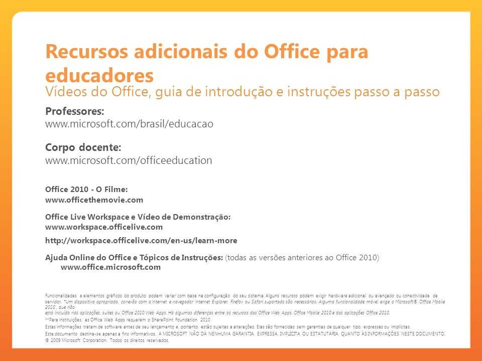Recursos adicionais do Office para educadores