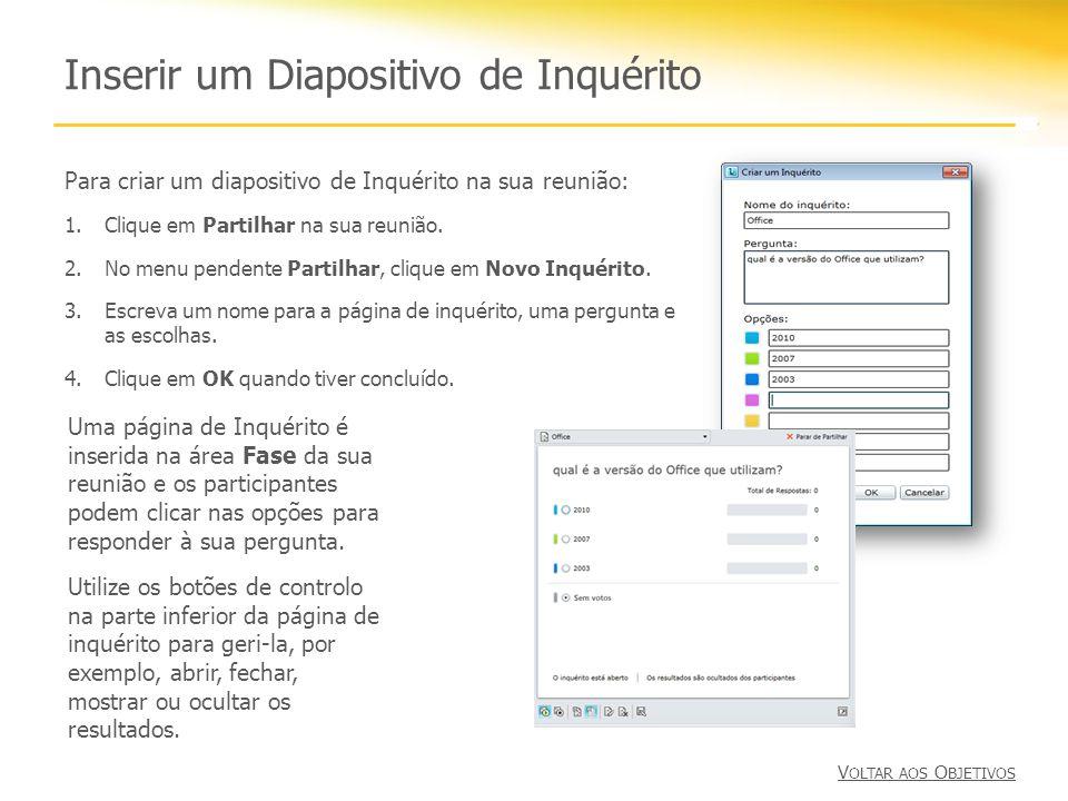 Inserir um Diapositivo de Inquérito