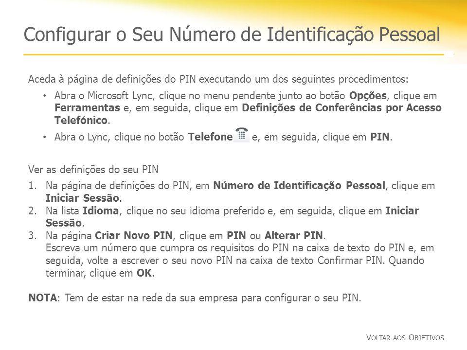 Configurar o Seu Número de Identificação Pessoal