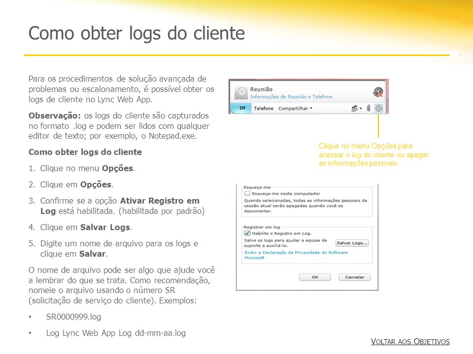 Como obter logs do cliente
