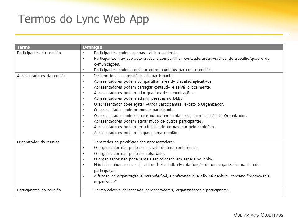 Termos do Lync Web App Voltar aos Objetivos Termo Definição