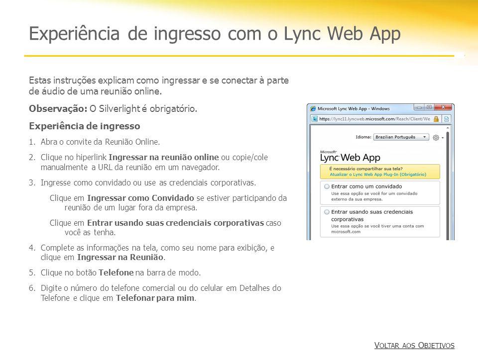 Experiência de ingresso com o Lync Web App