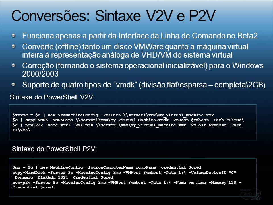 Conversões: Sintaxe V2V e P2V