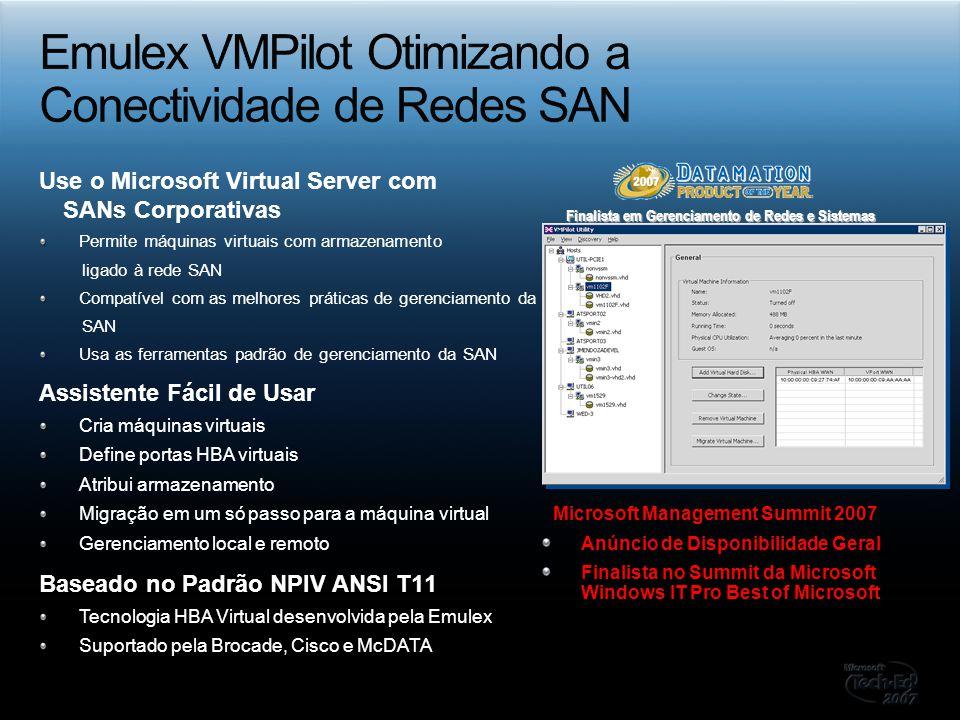 Emulex VMPilot Otimizando a Conectividade de Redes SAN