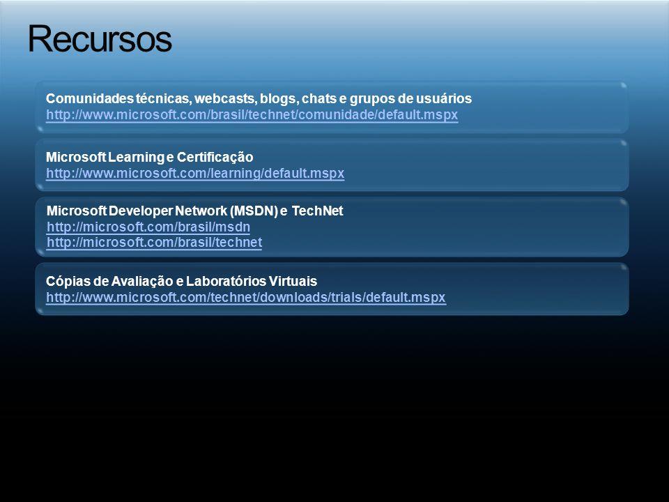 Recursos Comunidades técnicas, webcasts, blogs, chats e grupos de usuários. http://www.microsoft.com/brasil/technet/comunidade/default.mspx.