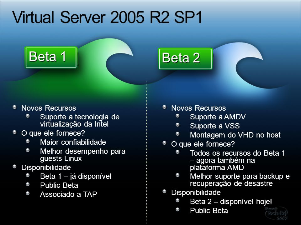 Virtual Server 2005 R2 SP1 Beta 1 Beta 2 Novos Recursos
