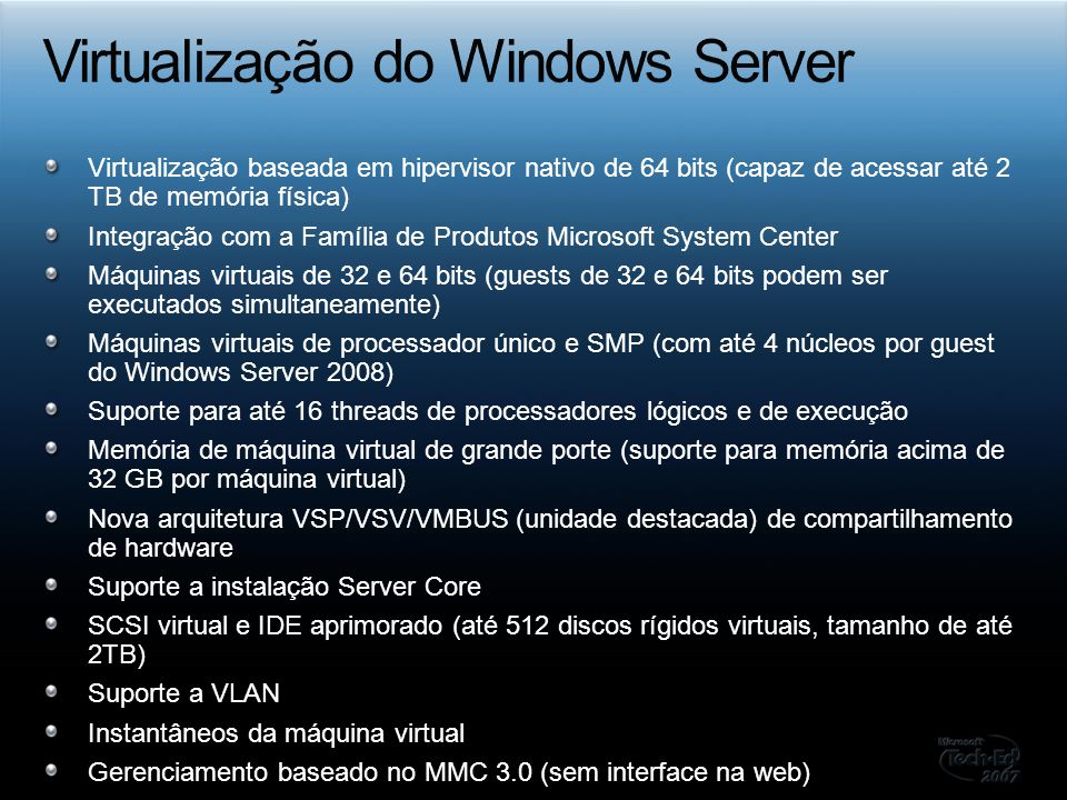 Virtualização do Windows Server
