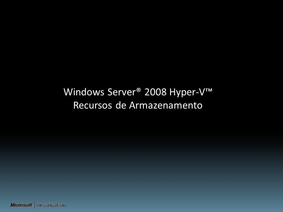 Windows Server® 2008 Hyper-V™ Recursos de Armazenamento