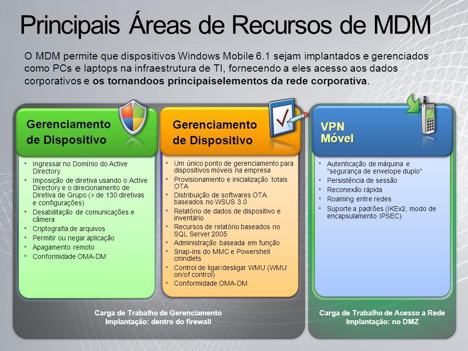 Principais Áreas de Recursos de MDM