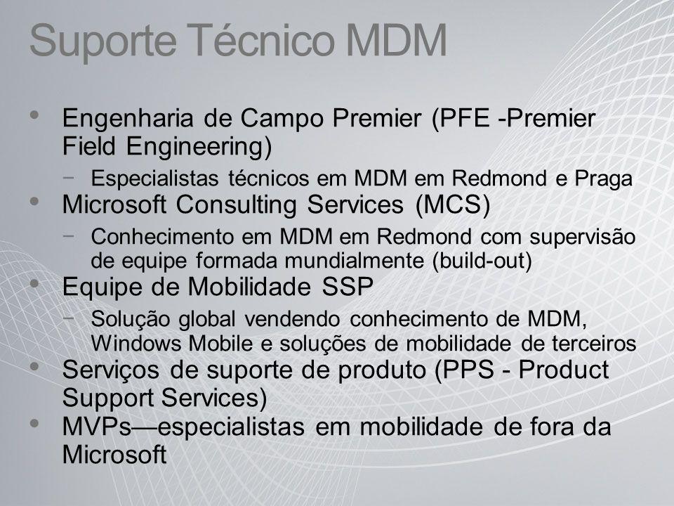 Suporte Técnico MDM Engenharia de Campo Premier (PFE -Premier Field Engineering) Especialistas técnicos em MDM em Redmond e Praga.