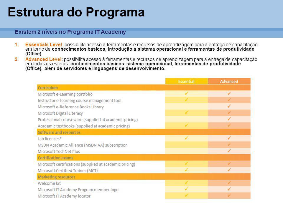 Estrutura do Programa Existem 2 níveis no Programa IT Academy