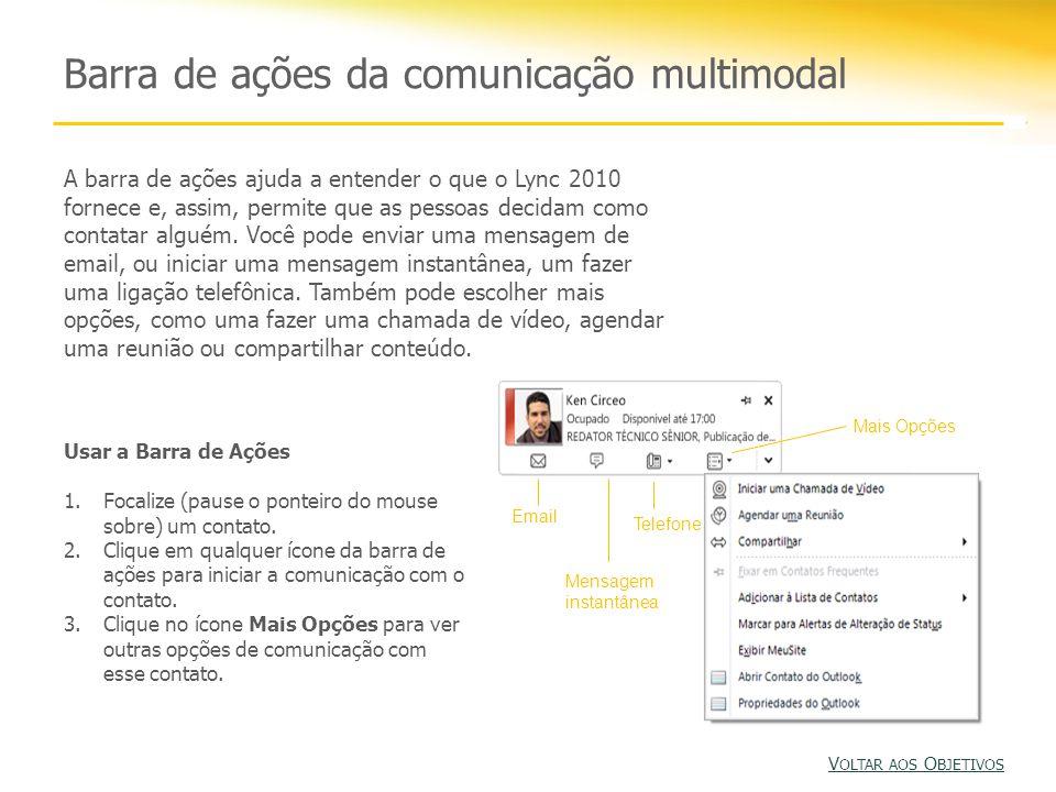 Barra de ações da comunicação multimodal