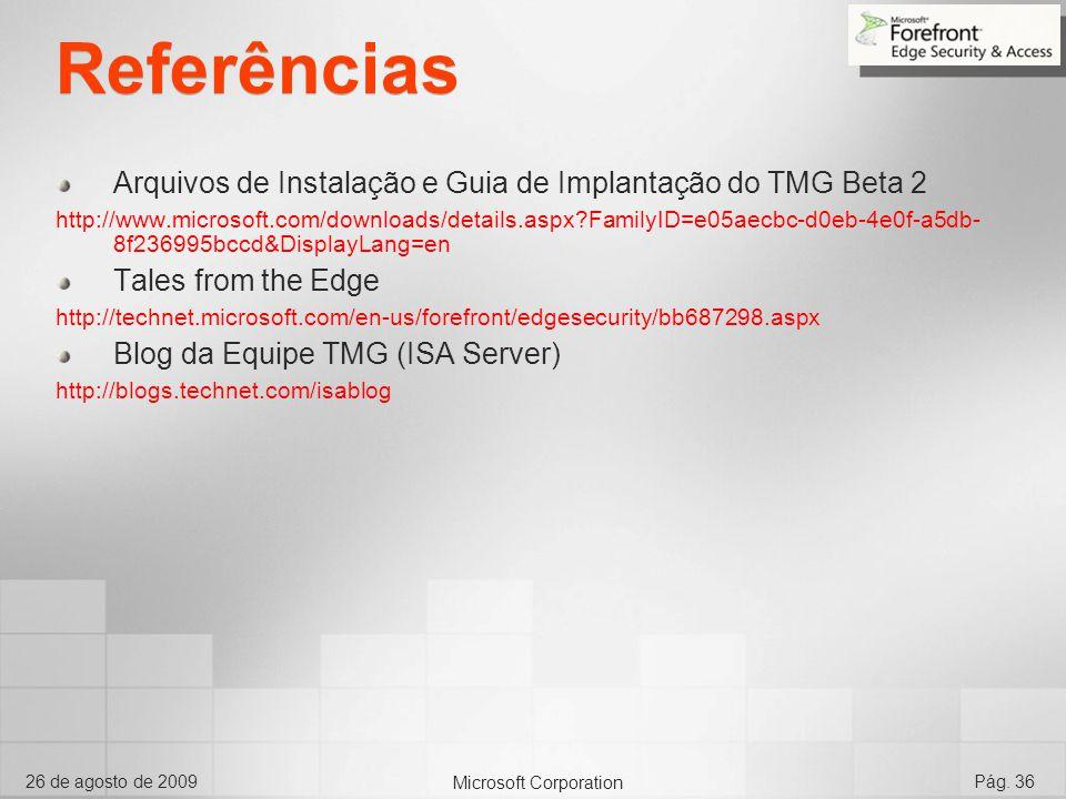 Referências Arquivos de Instalação e Guia de Implantação do TMG Beta 2