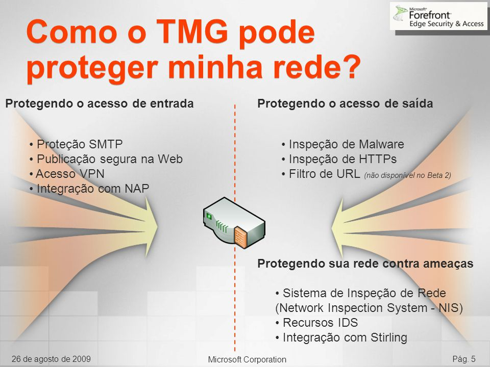 Como o TMG pode proteger minha rede