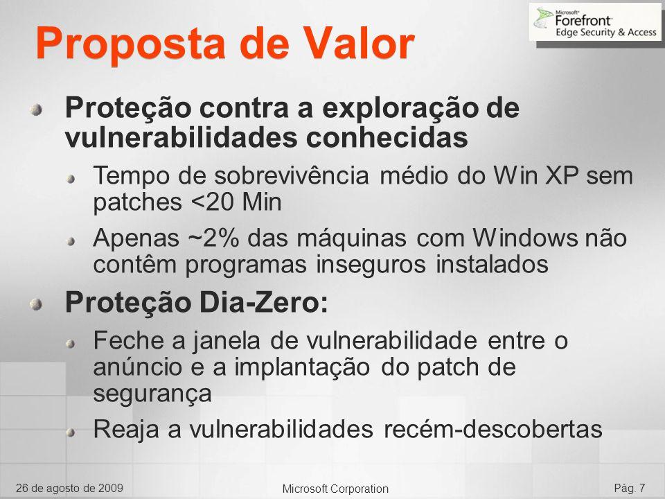 Proposta de Valor Proteção contra a exploração de vulnerabilidades conhecidas. Tempo de sobrevivência médio do Win XP sem patches <20 Min.