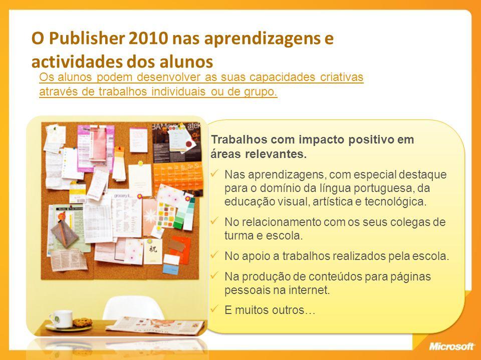 O Publisher 2010 nas aprendizagens e actividades dos alunos
