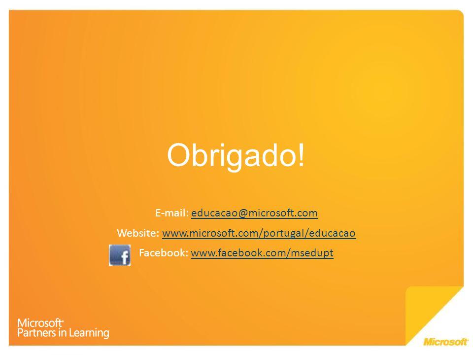 Obrigado! E-mail: educacao@microsoft.com