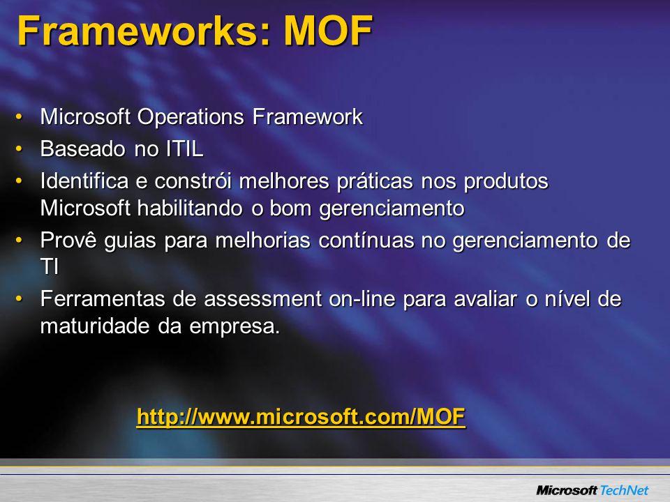 Frameworks: MOF Microsoft Operations Framework Baseado no ITIL