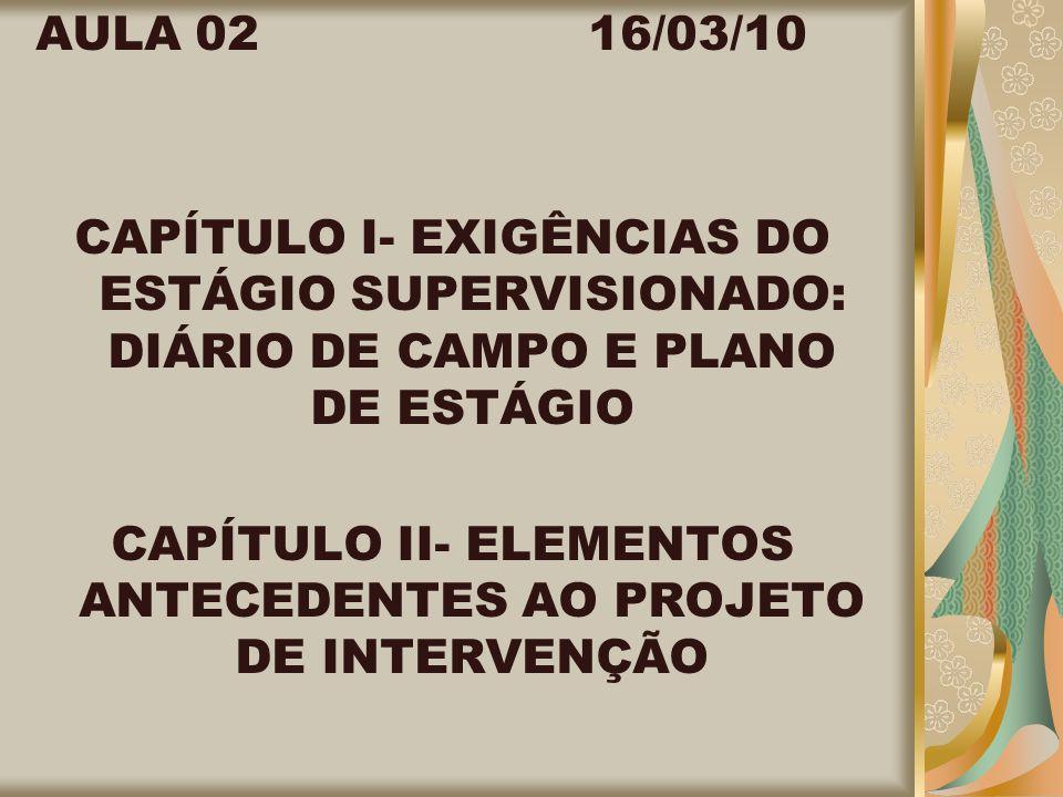 CAPÍTULO II- ELEMENTOS ANTECEDENTES AO PROJETO DE INTERVENÇÃO