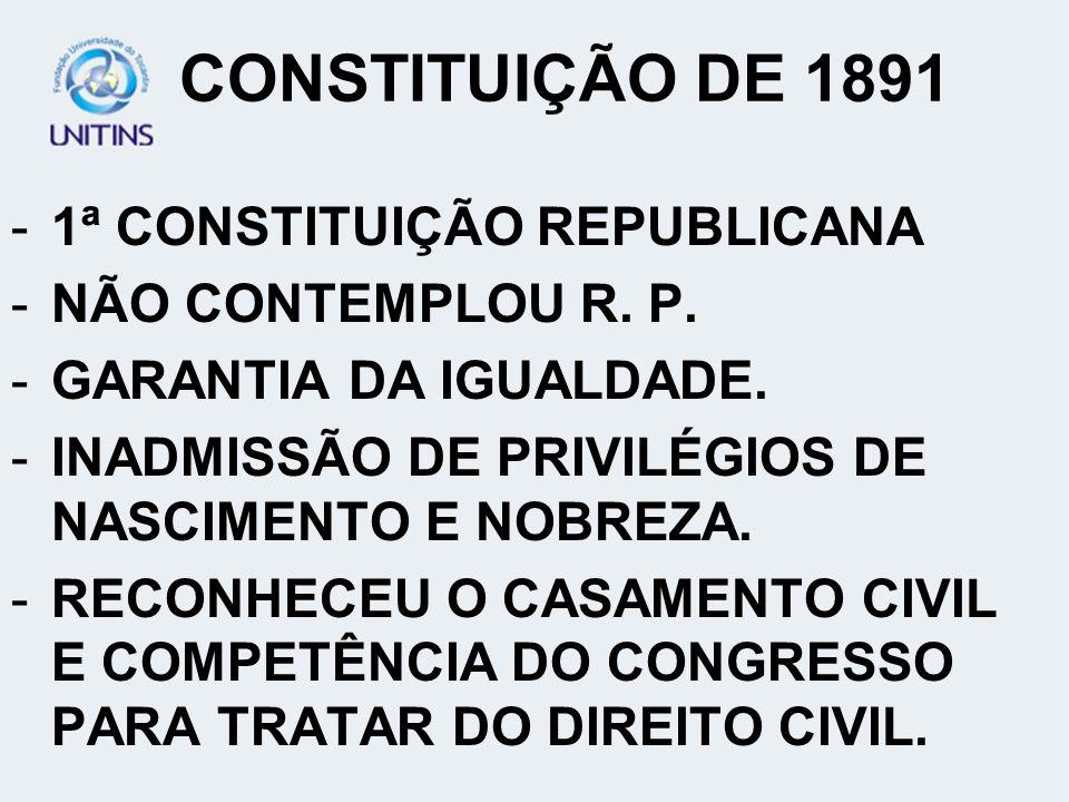 CONSTITUIÇÃO DE 1891 1ª CONSTITUIÇÃO REPUBLICANA NÃO CONTEMPLOU R. P.