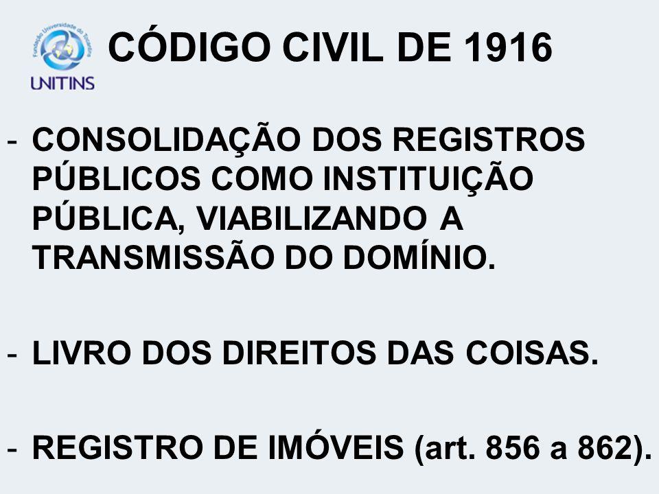 CÓDIGO CIVIL DE 1916 CONSOLIDAÇÃO DOS REGISTROS PÚBLICOS COMO INSTITUIÇÃO PÚBLICA, VIABILIZANDO A TRANSMISSÃO DO DOMÍNIO.