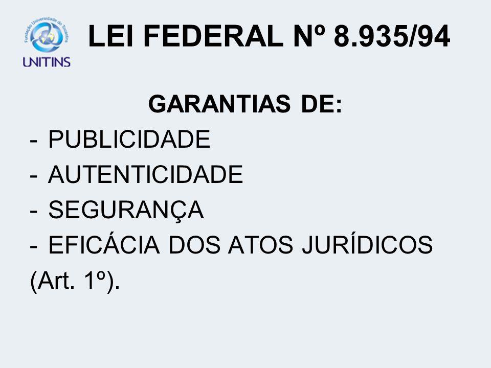 LEI FEDERAL Nº 8.935/94 GARANTIAS DE: PUBLICIDADE AUTENTICIDADE