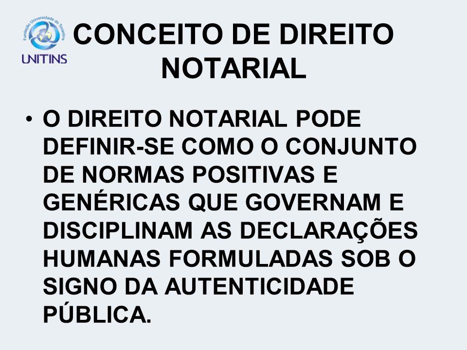 CONCEITO DE DIREITO NOTARIAL