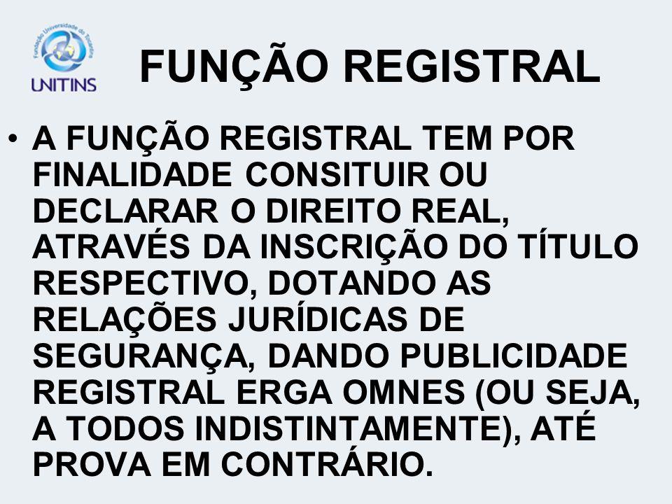 FUNÇÃO REGISTRAL