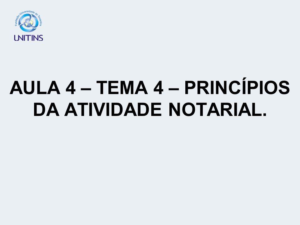 AULA 4 – TEMA 4 – PRINCÍPIOS DA ATIVIDADE NOTARIAL.