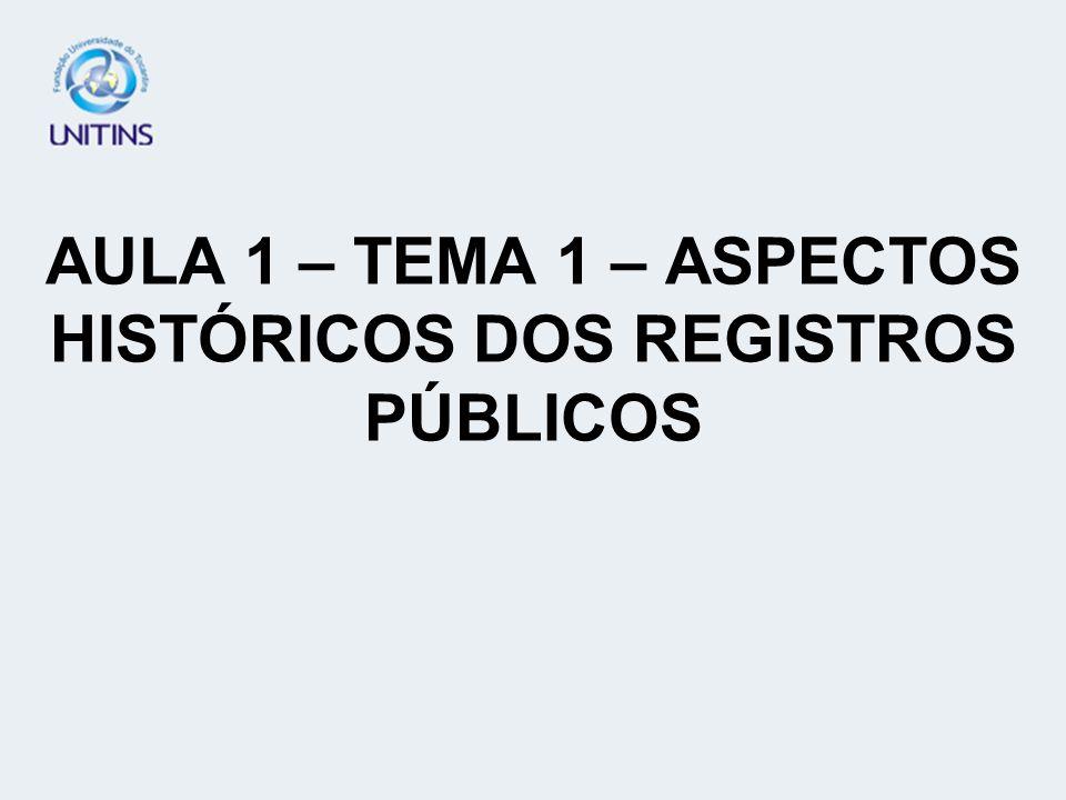 AULA 1 – TEMA 1 – ASPECTOS HISTÓRICOS DOS REGISTROS PÚBLICOS